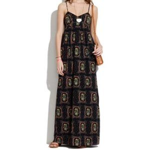 Madewell Floral Frame Maxi Dress in Black Multi
